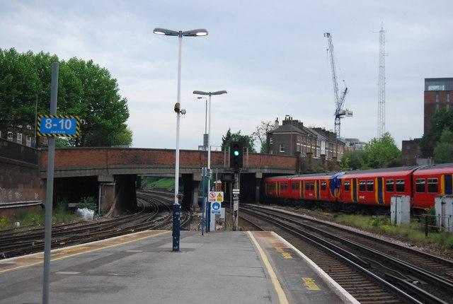 Train leaving Clapham Junction