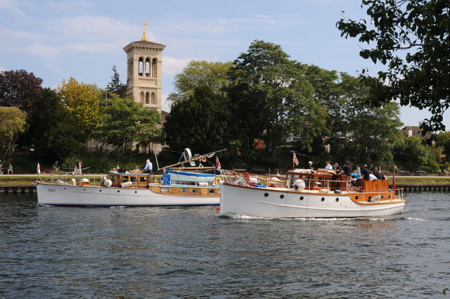 Cruisers passing St Raphael's church