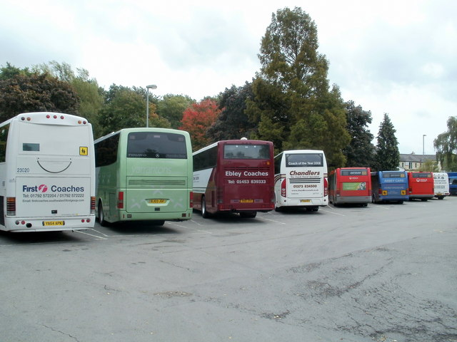 All parking bays occupied on market day, Abergavenny Bus Station