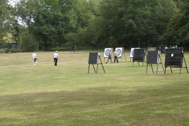 Walking to a target, Meriden Archery Club
