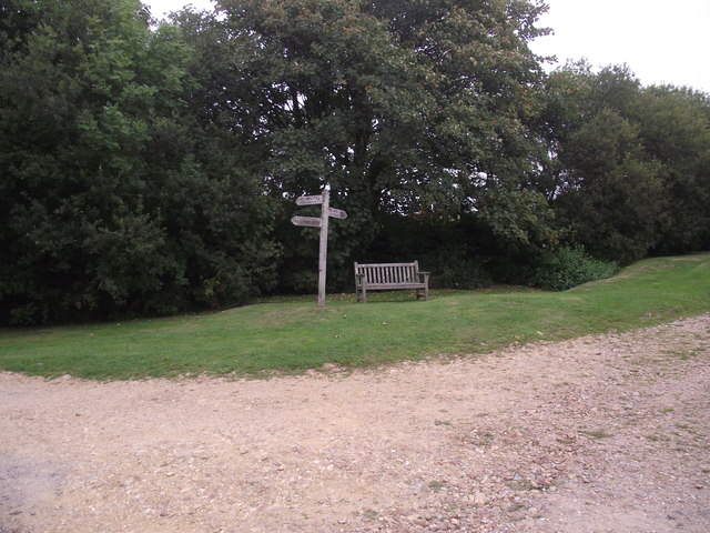 Bench and Footpath signpost at St Gabriel's