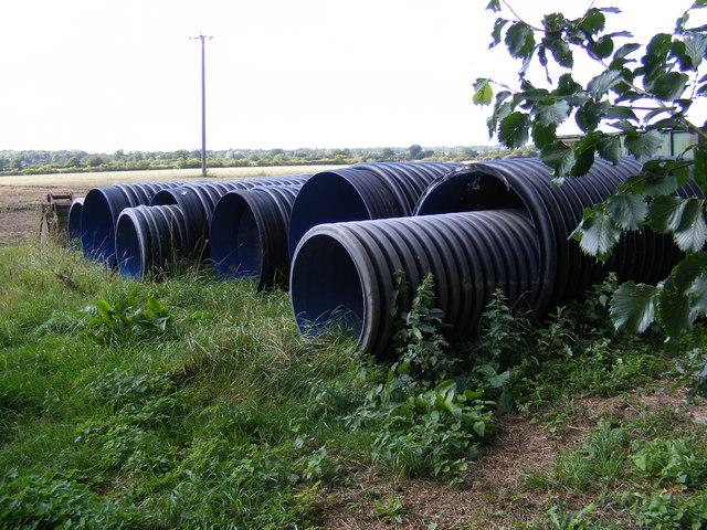 Drainage pipes at Hall Farm