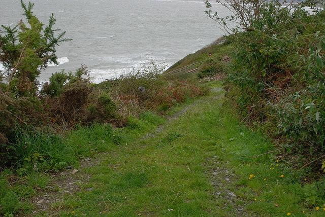 Track heading towards the shore