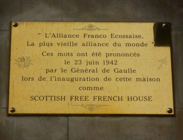 Scottish Free French House plaque, Regent Terrace