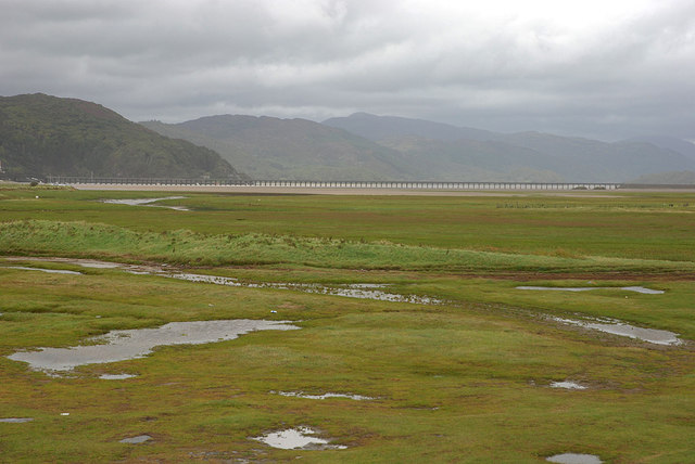 View over the Mawddach salt marshes