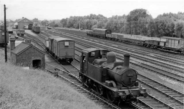 GW 0-4-2T in the Goods yard at Leominster