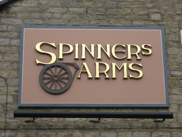 Spinners Arms (3) - sign, Hadfield Road, Hadfield