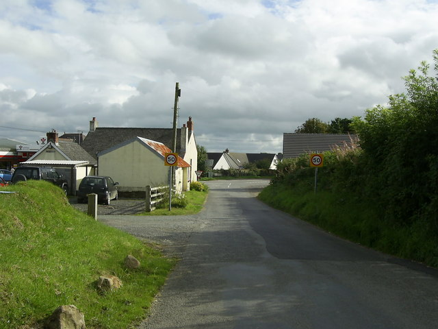 Approaching the road junction, Glandy Cross