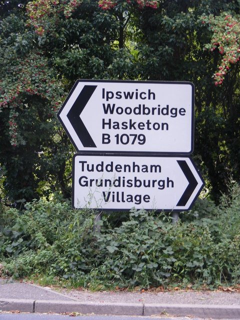 Roadsigns on the B1079 at Grundisburgh