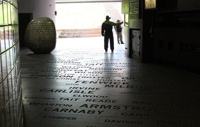 Reivers' names, Millennium Gallery, Carlisle