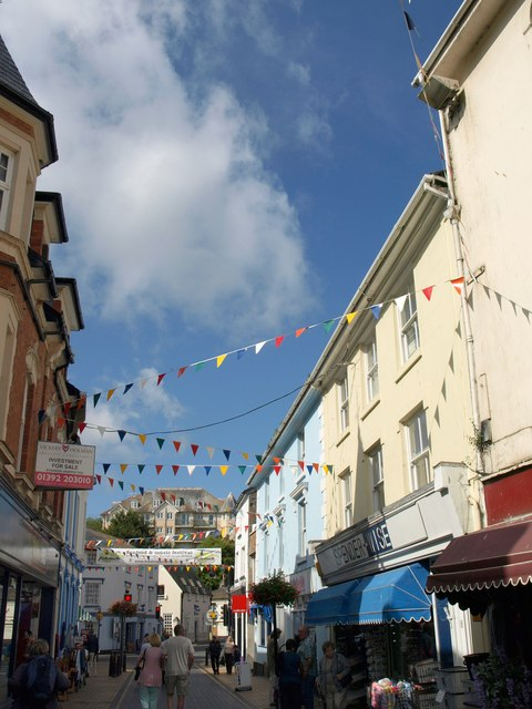 Bunting on Fore Street, Brixham