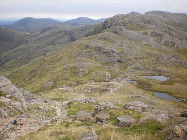 Looking down on Three Tarns from an ascent of Bowfell