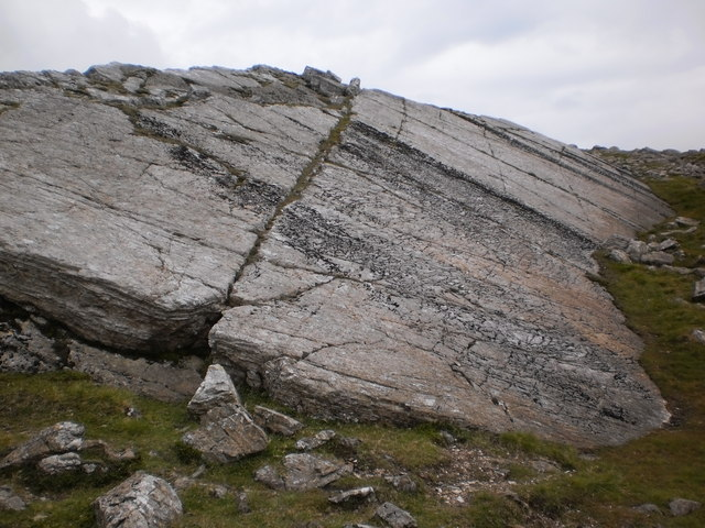 Striated sloping rock on Bowfell
