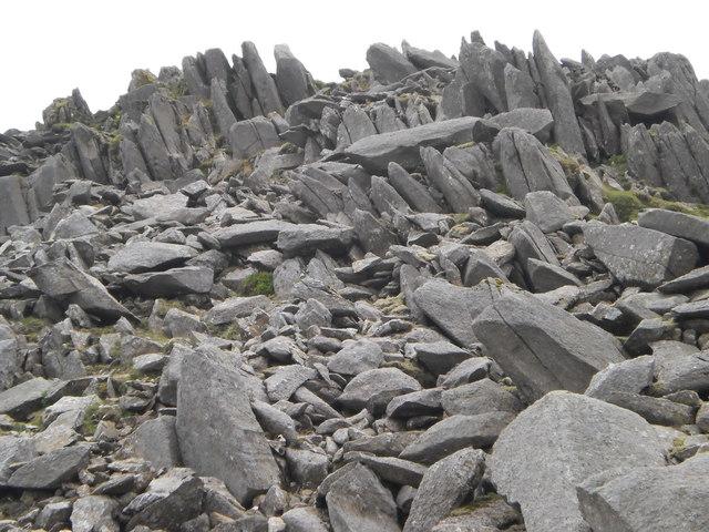 Rock outcrops below Bowfell summit