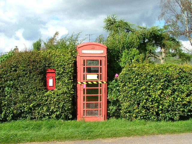 Post and telephone box at Clathy