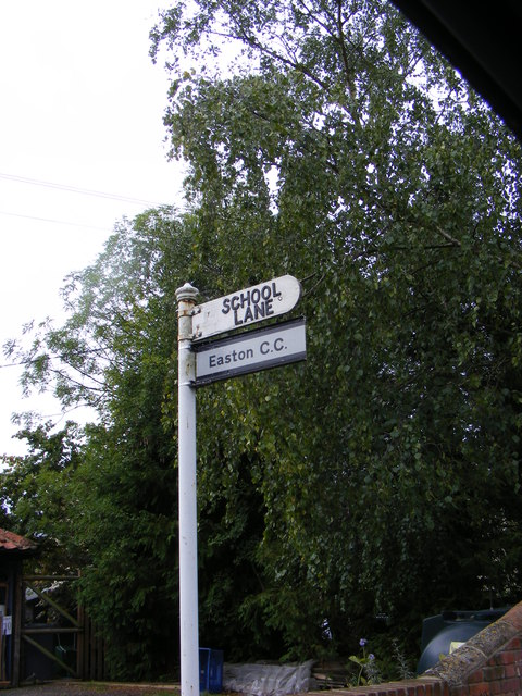 School Lane & Easton CC sign