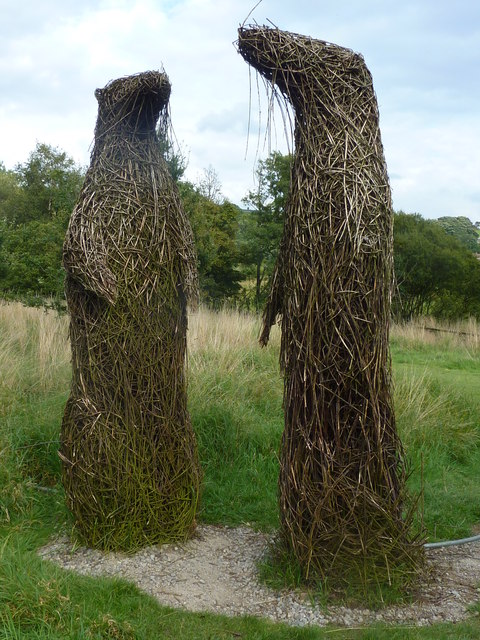 Wicker sculpture by the river at the Moors National Park Centre, Danby