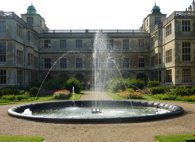 Fountain and parterre at Audley End, Saffron Walden