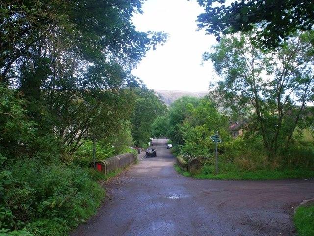 Lennoxtown, road, paths and bridge