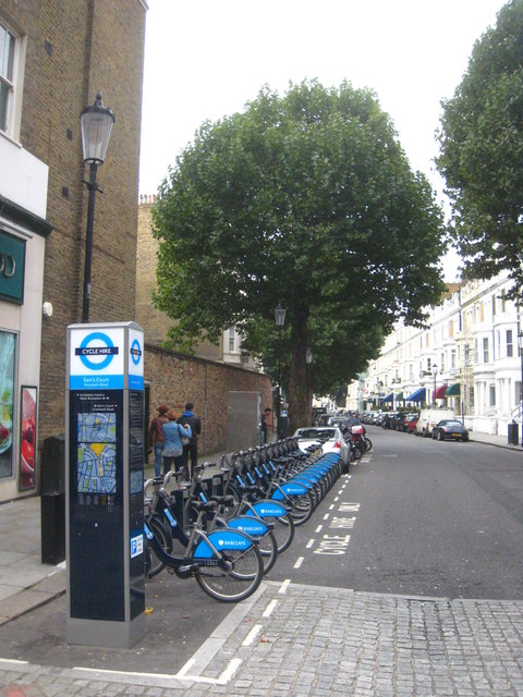 Cycle hire stand in Penywern Road Earl's Court