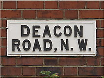 TQ2284 : Sign for Deacon Road, NW2 by Mike Quinn