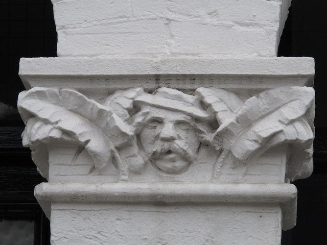 Stone head on doorway, Chaplin Road, NW2