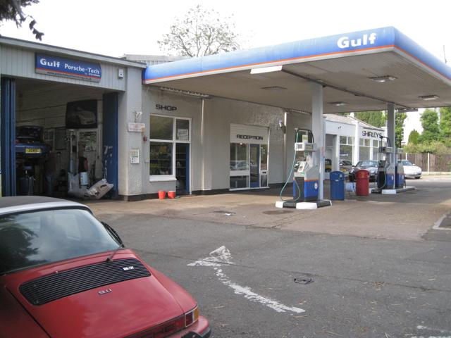 Porsche dealer and petrol station