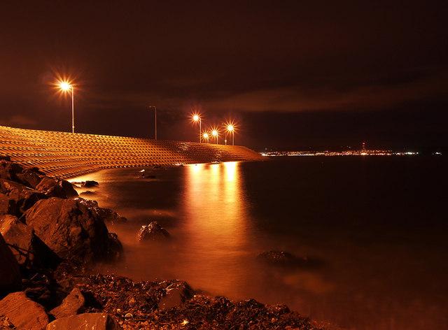 The Eisenhower Pier, Bangor, at night