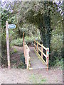 TM2158 : Footbridge of the footpaths to Yew Tree Farm & Otley Road by Adrian Cable