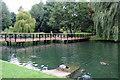 TQ8353 : Cascade Gardens Bridge, Leeds Castle, Kent by Christine Matthews