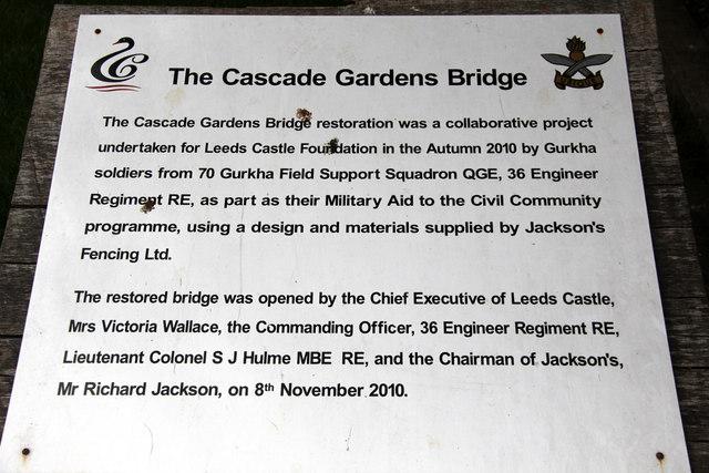 Information Board, The Cascade Bridge, Leeds Castle, Kent
