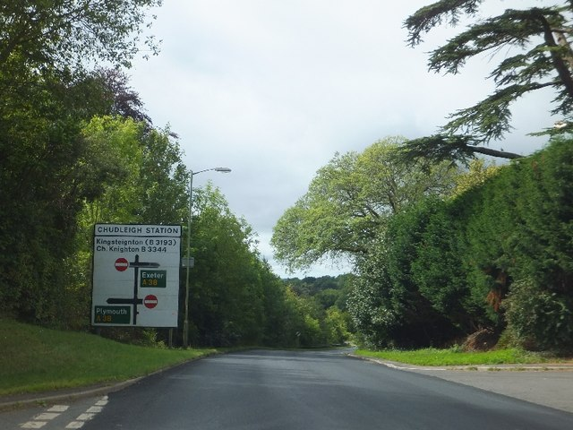 B3344 approaching A38 from Chudleigh