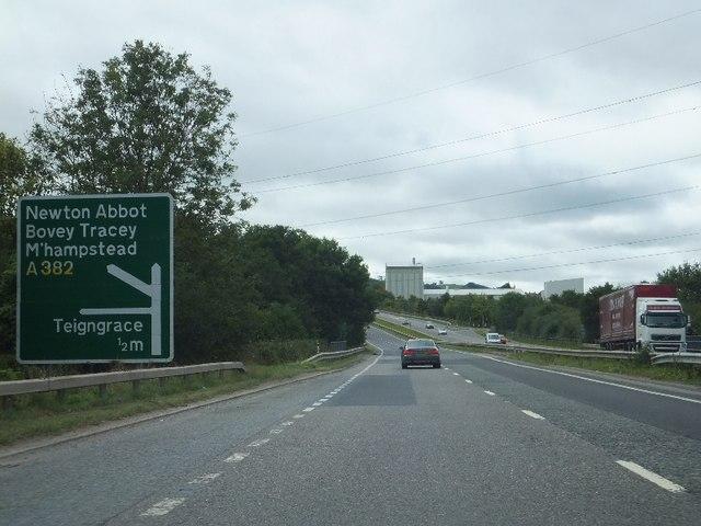 A38 crossing River Bovey at Jew's Bridge