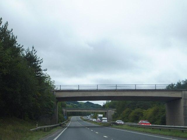 The two bridges over the A38 at Drumbridges