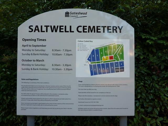 Saltwell Cemetery, Gateshead, Sign