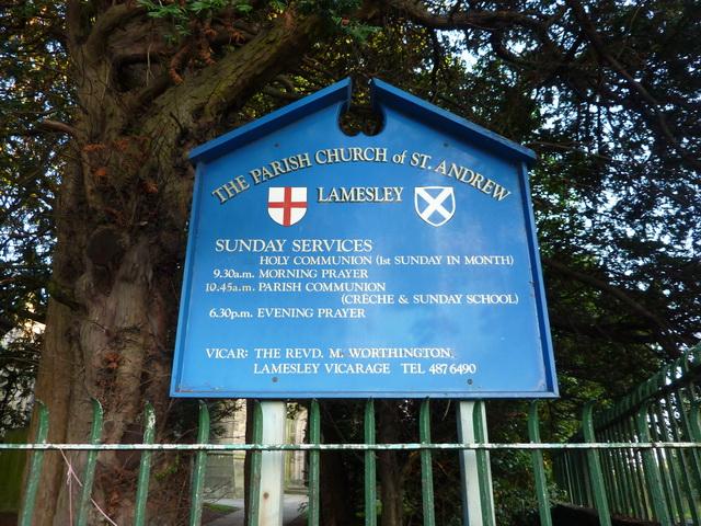 Parish Church of St Andrew, Lamesley, Sign
