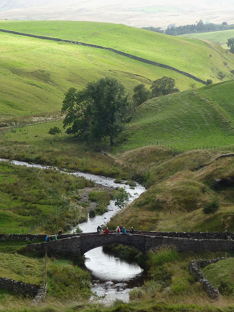 Pausing for a break on Smardale Bridge