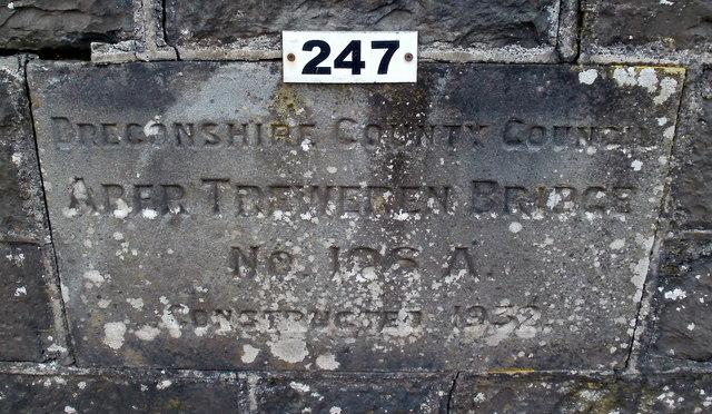 Engraved stone recording the opening of Aber Treweren Bridge