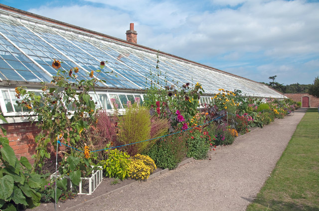 Glasshouse and herbaceous border in walled garden - Clumber Park