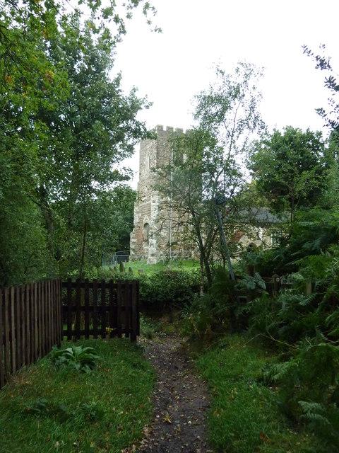 Path from Church Lane reaches All Saints, Bow Brickhill