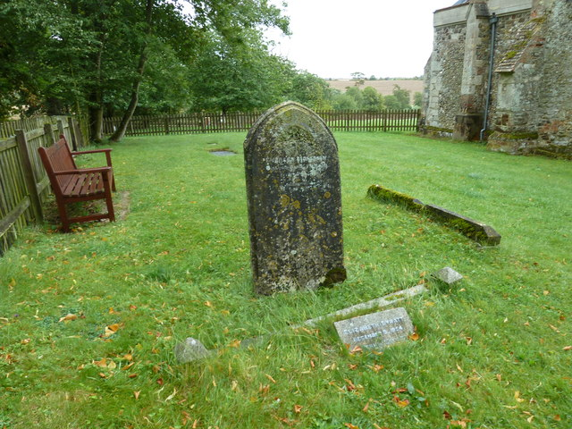 St Peter and All Saints, Battlesden: seat in the churchyard