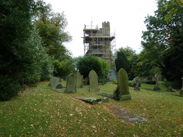 Scaffolding on the tower at St Nicholas, Hockliffe