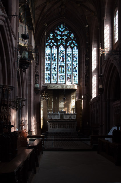 Chancel and stained glass window of Chapel of Our Lady - Clumber park