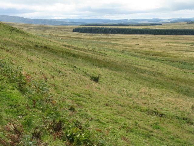 Looking southwest along the Moorfoot Hills escarpment