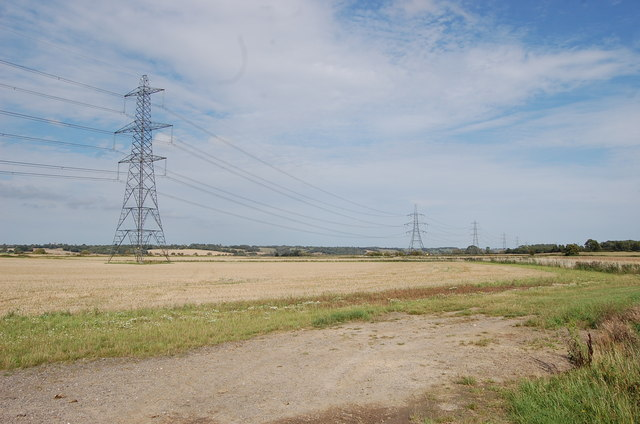 Pylons crossing the Rother Levels