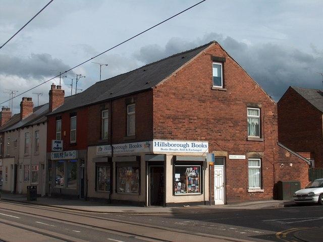 Book shop at Holme Lane/Holme Close corner, Hillsborough