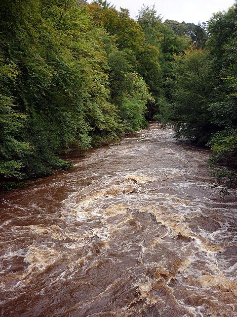 The River Irthing in spate below Gilsland Spa