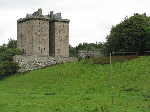 Borthwick Castle, from the bridge over the Gore Water