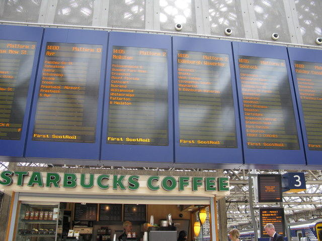 Departure Information Boards at Glasgow Central