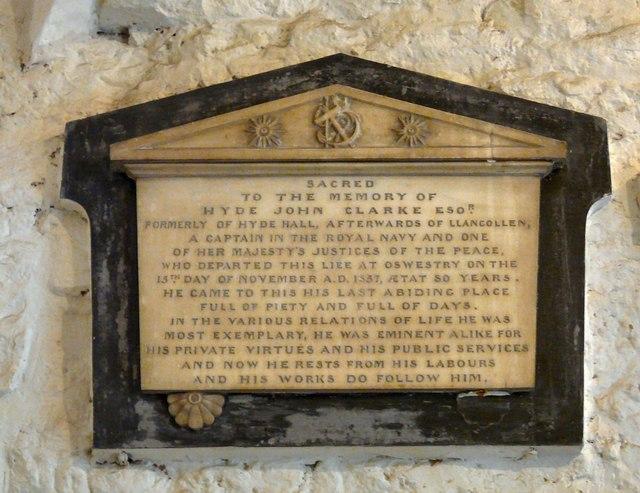 Memorial to Hyde John Clarke